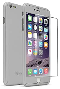iPhone 6S plus Full Body Slim Fit Case With Tempered Glass Screen Protector Ultra Thin Light Weight Hard Silver Snap-On for Apple iPhone 6 plus 5.5