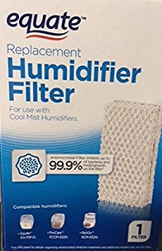 Equate Replacement Humidifier Filter for use with Cool Mist Humidifiers for use with EQ2119-UL, ProCare PCCM-832N, ReliOn-RCM-832 & 832N, Robitussin DH-832, Duracraft DH-830, SS SH100&SH200 (Procare Cleaning)