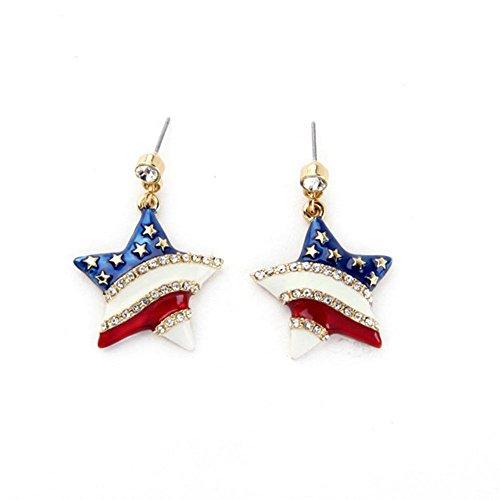 - Patriotic Jewelry Heart Design For Women American Flag Earrings Star Shape