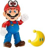 "Boneco Articulado Super Mario com Lua Amarela, 4"", Super Mario, Ca"