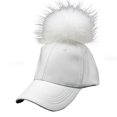 DEESEE(TM) New Men Women Raccoon Fur Ball Hip Hop Fashion Casual Baseball Cap (White)