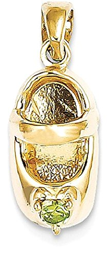IceCarats 14k Yellow Gold 3 D August/synthetic Stone Engr...