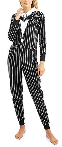 Briefly Stated Tim Burtons Nightmare Before Christmas Jack Skellington One Piece Union Suit Pajama Costume (XL -