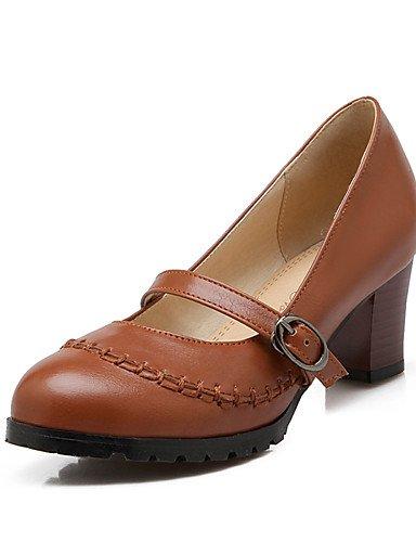 GGX/ Zapatos de mujer-Tacón Robusto-Tacones / Punta Redonda-Tacones-Oficina y Trabajo / Casual-PU-Negro / Marrón / Beige , brown-us10.5 / eu42 / uk8.5 / cn43 , brown-us10.5 / eu42 / uk8.5 / cn43 brown-us10.5 / eu42 / uk8.5 / cn43