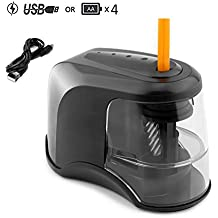 SanSiDo Electric Pencil Sharpener,Heavy-Duty Helical Blade,Small and Portable Pencil Sharpener for NO.2 Pencils and Colored Pencils(6.5-8mm),USB/Battery Operated in School Classroom/Office/Home