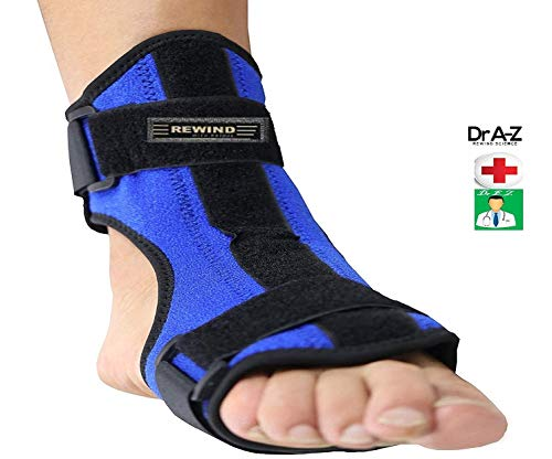 Dr A-Z Dorsal Night Splint Ankle Support Brace Plantar Fasciitis Drop Foot Fascia Arch Support Pain Relief Effective for Heel Arch Restless Foot Pain, Achilles Tendonitis Orthotics Bonus Card Blue