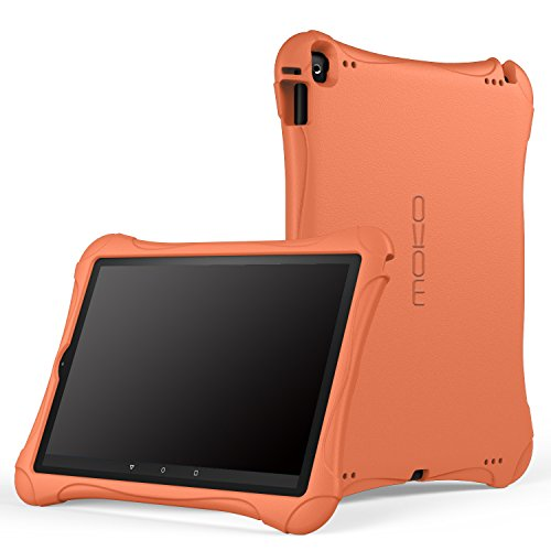 MoKo Case for Fire HD 10 Tablet (5th Generation, 2015 Release) - Kids Friendly Ultra Light Weight Shock Proof Super Protective Cover for Amazon Fire HD 10.1 Inch Tablet, ORANGE