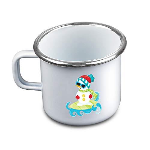 (Snowman Surfing Metal Camping Mug Enamel Cup)