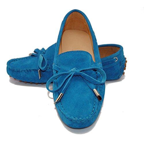 Minishion Tyb9602 Casual Mocassins En Cuir Suédé Femmes Conduite Chaussures Penny Mocassins Appartements Ciel Bleu