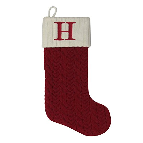 MFT St. Nicholas Square 21-inch Monogram Embroidered Initial Cable Knit Red Christmas Holiday Stocking Letter H