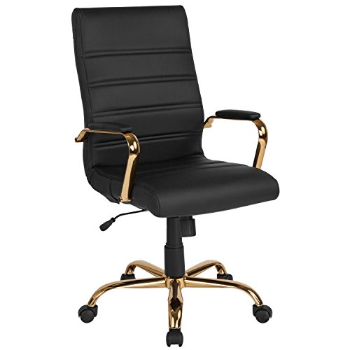 Flash Furniture High Back Black Leather Executive Swivel Chair with Gold Frame and Arms
