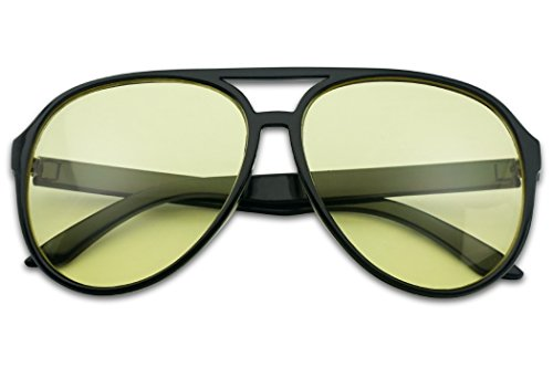 Sunglass Stop - Oversized Round 80's Vintage Blue Blocking Aviator Sunglasses (Black, - Yellow Black Glasses And