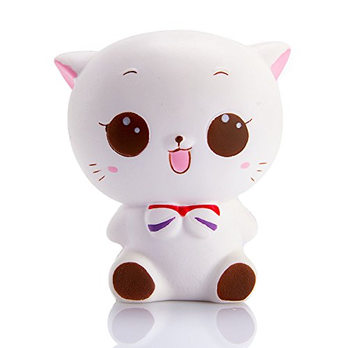 WATINC 1 Pcs Jumbo Squishy Kawaii White cat Cream Scented Slow Rising Squishies Charms, Lovely Toy for Stress Relief Toy Decorations Toy, LargeDecorations Toy Large(White cat)
