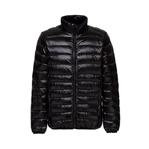 ght Packable Stand Collar Down Jacket Outwear Puffer Down Coats S Black ()