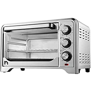 New House Kitchen Toaster Countertop Convection Stainless Steel Oven w/Variable Temperature Control; X-Large 6 Slice; 6 Cooking Functions
