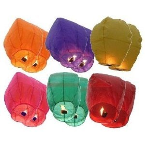 "12 Premium SKY LANTERNS 40"" Tall Hot Air Balloons - 6 ASSORTED COLORS"