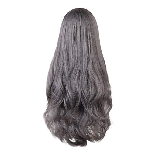 Temperature Silk High - Long Wigs,Wigs Curly Wave,Big Roll Wigs for Women,High Temperature Silk Thin Bangs Long Curly Rose Net Wig, Party,Cosplay