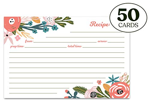 Jot & Mark Recipe Cards Floral Double Sided 4x6 50 Count (Garden Floral) (Floral Recipe Cards)