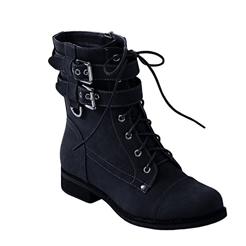 Syktkmx Womens Work Military Combat Martin Boots Lace up Buckle Strap Ankle Booties by Syktkmx