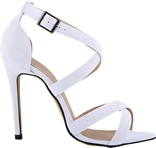 CFP YSE-102-1A-RB Womens Elegant Street Stiletto Pretty Vogue Relaxing Office Ankle X-Strap Adjustable Buckle Breathable Lightweight Open Toe Fashionable Sandals High Heel White ebd9fK