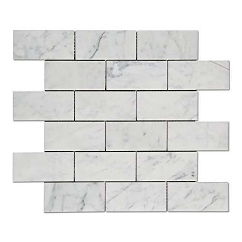 Diflart Italian White Carrara Marble Mosaic Tile 2×4 inch Polished, 5 Sheets/Box (Brick) ()