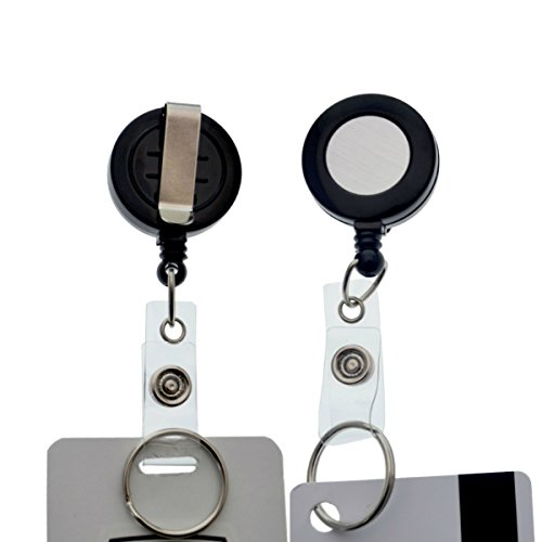 10 Pack - Premium Retractable ID Badge Reels with Key Ring,