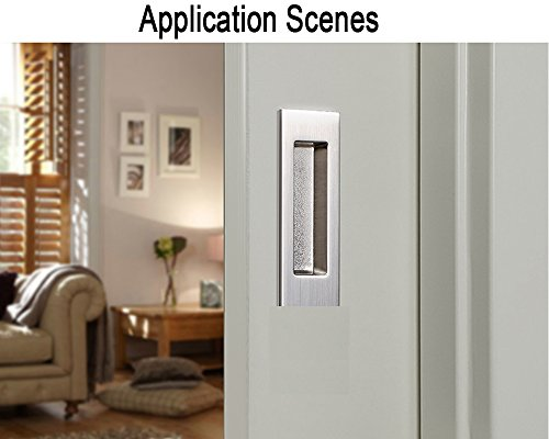 Funsmore FlushPull Handle 6 inch Rectangular Flush Recessed Sliding Door Pull Handles for Barn Door Hardware 2 Pack Silver by Funsmore (Image #4)