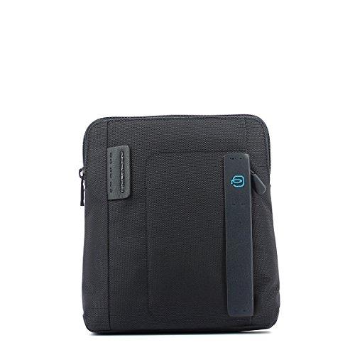 PIQUADRO Bolsa Hombre Bandolera cuero y tejido Gris - CA1358P16-CLASSY Blu2