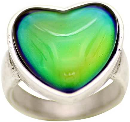 Mojo Antique Sterling Silver Plated Ring With Heart Shape Stone Color Change Mood Rings MJ-RS056