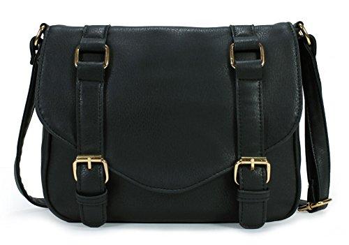 Scarleton Decorative Front Belt Crossbody Bag H172501 - Black