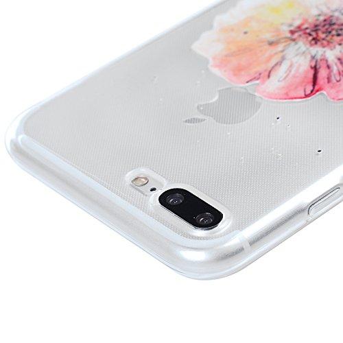"""Coque iPhone 7 Plus / iPhone 8 Plus 5.5"""", Badalink Case Housse Bumper Coque de Protection TPU Silicone Gel Souple Flexible Ultra Mince Slim Léger Antichoc Anti Rayure Motif Fleur"""