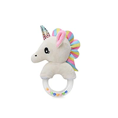 Baby Soft Rattle Plush Toy Plush Stuffed Animal Cute Unicorn Ring Rattle Baby Educational Doll Toy Baby Toy Gift for Baby : Baby