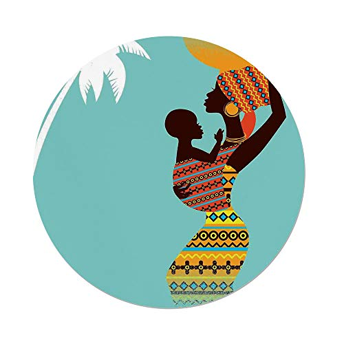 Polyester Round Tablecloth,Afro Decor,African Mother with Her Baby in Ethnic Clothes Retro Style Fashion Image,Turquoise Merigold,Dining Room Kitchen Picnic Table Cloth Cover,for Outdoor Indoor by iPrint