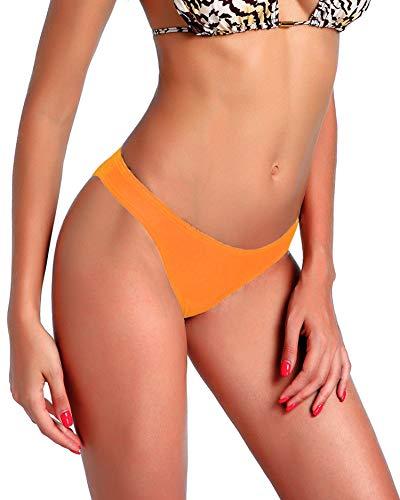 - 3-5 Days Delivery Sexy Lady Brazilian V-Style Ruched Ruffle Cheeky Bikini Bottom Thong Orange