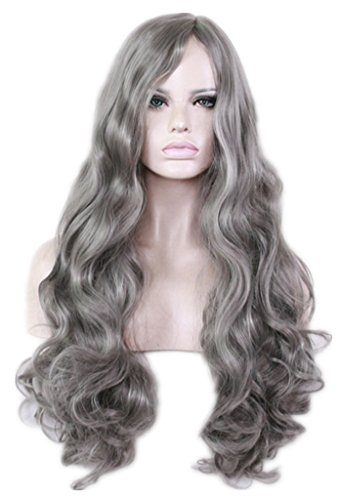 AneShe Women's Grey Wig Long Curly Fluffy Healthy Full Wigs Natural Gray Cosplay Wig Synthetic Hair Wig (Dark Gray) by AneShe
