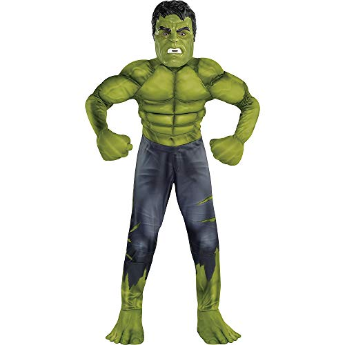 Party City Avengers: Endgame Hulk Muscle Costume for Children, Size Small, Includes a Padded Jumpsuit, Mask, and