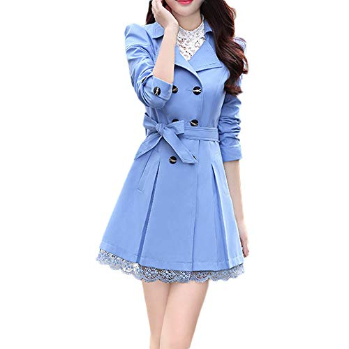 WOCACHI Womens Trench Coat Wool Blend Coats Bowknot Sashes Jacket Solid Outwear Winter Outerwear Warm Parka Cotton Padded Jackets Big (Blue, XXX-Large) ()