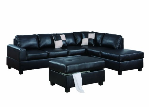 Bobkona Hampshire Collection 3-Piece Sectional Sofa, Black Living Room Set Chaise