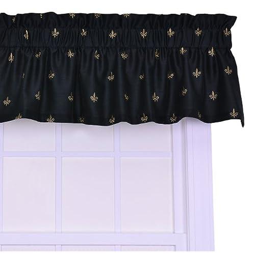 Ellis Curtain Fleur Di Lis Faux Silk Tailored Valance Window Curtain, Black
