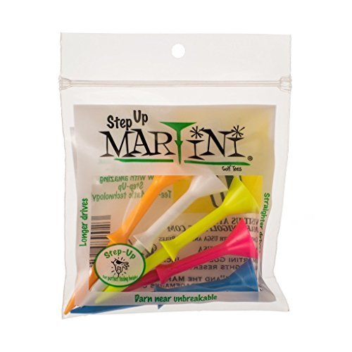Martini 3 1/4'' Step-Up Assorted Golf Tees- Pack of 2 (10 Tees) by Martini Tees