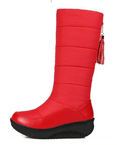 Aisun Womens Warm Omzoomd Ronde Neus Dikke Zool Platform Lage Hakken Wig Jurk Slip Op Mid Kalf Snowboots Schoenen Rood