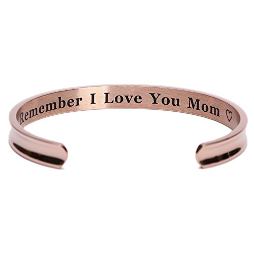 For Mothers Day Gifts   Remember I Love You Mom Cuff Bangle Bracelets From Mom And Daughter Birthdays  Rose Gold
