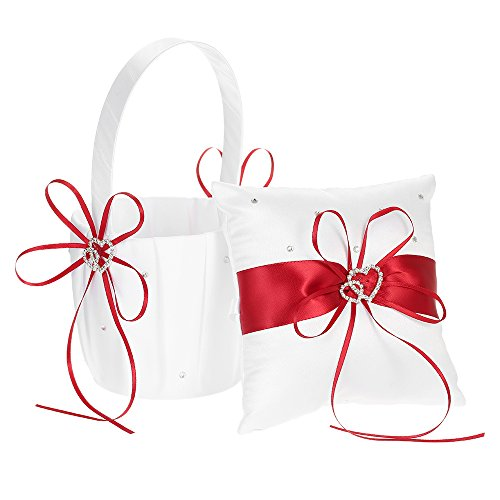 Decdeal Double Heart Satin Ring Bearer Pillow and Wedding Flower Girl Basket Set 6 x 6 inches 2 Ring Wedding Set