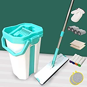 U.P.C. Flat Spin Mop with Bucket – Pureatic Upgraded Hands-Free Microfiber Flat Mop System 360° Flexible Head (38X12.5…