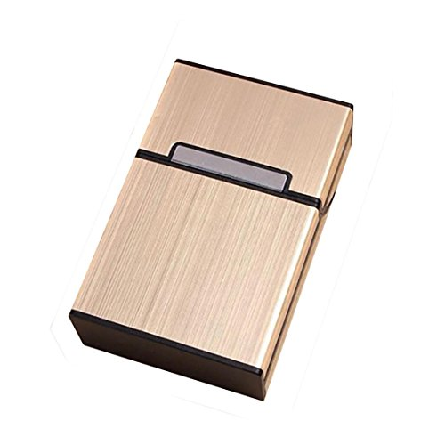 WensLTD_ Clearance! Smoking Cigarettes Aluminum Cigarette Case Cigar Tobacco Holder Storage Pocket Box (Gold)