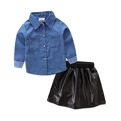 Baby Girl Long Sleeve Denim Top Shirt Leather Skirt Outfits Clothes Set -Glosun Blue/ Black 3T tag Size - Long Sleeve Jeans Leather