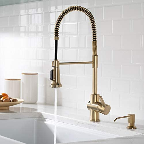 Kraus KPF-1690-KSD-53SFACB Britt Commercial Style Pre-Rinse Kitchen Faucet with Deck Plate and Soap Dispenser, Spot Free Antique Champagne Bronze
