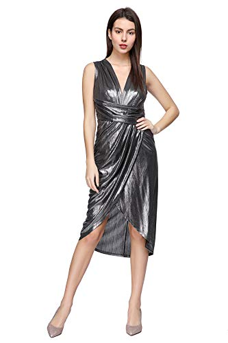 Women's Sequin Glitter V Neck Sleeveless Empire Waist Long Evening Dress Disco Theme Party Dress (Small, Grey)