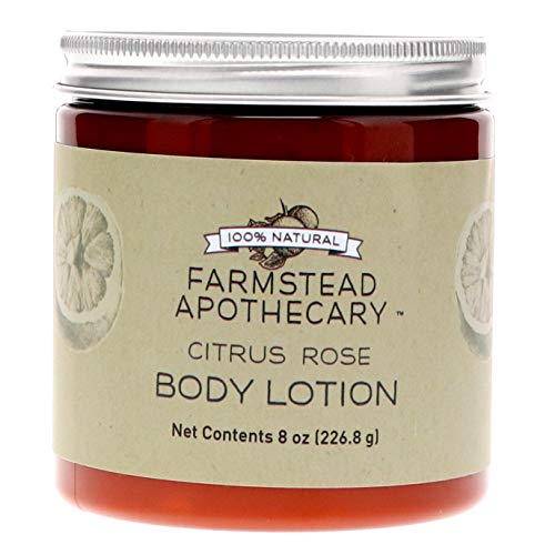 Farmstead Apothecary 100% Natural Body Lotion with Organic Safflower Oil, Organic Sunflower Oil & Organic Vitamin E Oil, Citrus Rose 8 OZ