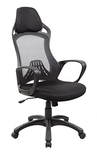 High Back Mesh and PU Executive and Managerial Computer Desk Swivel Office Chair with Headrest, Jet Black by United Seating